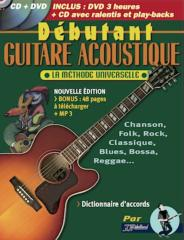 METHODE DEBUTANT GUITARE ACOUSTIQUE + CD + DVD